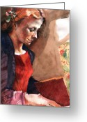Books Greeting Cards - Woman Reading Greeting Card by Ellen Dreibelbis