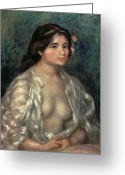 Nudes Greeting Cards - Woman Semi Nude Greeting Card by Pierre Auguste Renoir