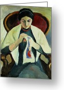 Sat Greeting Cards - Woman Sewing Greeting Card by August Macke