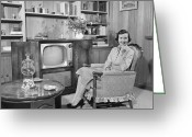Hand On Chin Greeting Cards - Woman Sitting In Armchair In Living Room, (b&w), Portrait Greeting Card by George Marks