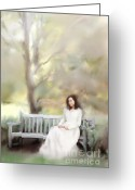 Long Dress Greeting Cards - Woman Sitting on Park Bench Greeting Card by Stephanie Frey