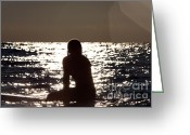Surf Silhouette Greeting Cards - Woman sitting on surfboard in Lake Michigan Greeting Card by Purcell Pictures