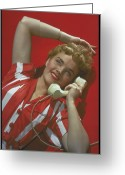 20-24 Years Greeting Cards - Woman Speaking On Phone, Circa, 1953 Greeting Card by Archive Holdings Inc.