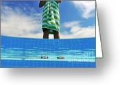 Woman In Pool Greeting Cards - Woman standing on swimming pool ledge Greeting Card by Sami Sarkis