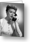 Distraught Greeting Cards - Woman Talking On Phone In Studio, (b&w) Greeting Card by George Marks