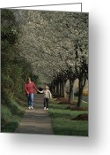 Spring Scenes Greeting Cards - Woman Walking Hand And Hand With Blonde Greeting Card by Brian Gordon Green