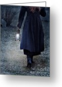 Lit Greeting Cards - Woman Walking with Lantern Greeting Card by Jill Battaglia