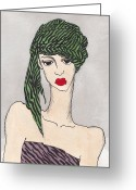 Stripes Tapestries - Textiles Greeting Cards - Woman Wearing a Turban Greeting Card by Dorrie Ratzlaff