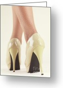 High Heel Greeting Cards - Woman Wearing High Heel Shoes Greeting Card by Oleksiy Maksymenko