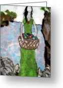 Woman Tapestries - Textiles Greeting Cards - Woman With A Basket Of Fish Greeting Card by Jill Dodd