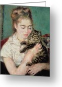 Sat Greeting Cards - Woman with a Cat Greeting Card by Pierre Auguste Renoir
