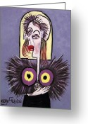 Limited Edition Mixed Media Greeting Cards - Woman With A Fake Mink Greeting Card by Anthony Falbo