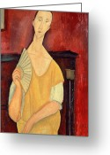 Modigliani Painting Greeting Cards - Woman with a Fan Greeting Card by Amedeo Modigliani