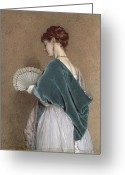 Hair Bun Greeting Cards - Woman with a Fan Greeting Card by John Dawson Watson