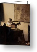 Vermeer Greeting Cards - Woman with a Lute Greeting Card by Jan Vermeer