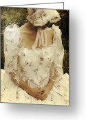 Elizabethan Greeting Cards - Woman With A Period Dress Greeting Card by Joana Kruse
