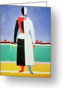 Utensil Greeting Cards - Woman with a Rake Greeting Card by Kazimir Severinovich Malevich