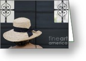 One Small Window Greeting Cards - Woman with a straw hat Greeting Card by Mats Silvan