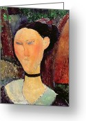 Amedeo (1884-1920) Greeting Cards - Woman with a Velvet Neckband Greeting Card by Amedeo Modigliani