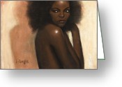 L Cooper Greeting Cards - Woman with Afro Greeting Card by L Cooper