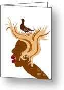 Drawings Drawings Greeting Cards - Woman with bird Greeting Card by Frank Tschakert