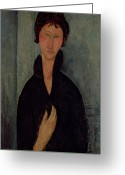 Modigliani Greeting Cards - Woman with Blue Eyes Greeting Card by Amedeo Modigliani