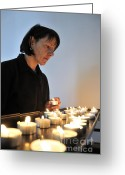 Ignite Greeting Cards - Woman with candles in church Greeting Card by Matthias Hauser