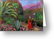 Exotic Tree Flowers Greeting Cards - Woman with Child on a Donkey Greeting Card by William James Glackens