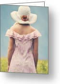 Straw Hat Greeting Cards - Woman With Hat Greeting Card by Joana Kruse
