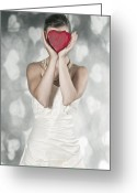 Pearl Necklace Greeting Cards - Woman With Heart Greeting Card by Joana Kruse