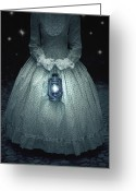 Lamp Light Greeting Cards - Woman With Lantern Greeting Card by Joana Kruse