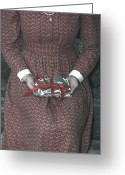 Old Photo Greeting Cards - Woman With Old Photos Greeting Card by Joana Kruse