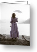Quite Greeting Cards - Woman With Parasol Greeting Card by Joana Kruse