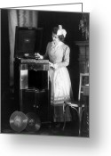 1908 Greeting Cards - Woman with phonograph 1908 Greeting Card by Stefan Kuhn