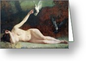Nudes Greeting Cards - Woman with Pigeons Greeting Card by Ernst Philippe Zacharie