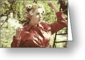 Fence Greeting Cards - Woman With Rain Coat And Curlers Greeting Card by Joana Kruse