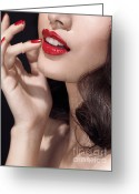 Chin Up Greeting Cards - Woman with red lipstick closeup of sensual mouth Greeting Card by Oleksiy Maksymenko