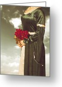 Pearl Necklace Greeting Cards - Woman With Roses Greeting Card by Joana Kruse
