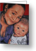 Varvara Stylidou Greeting Cards - Woman With The Child Greeting Card by Varvara Stylidou