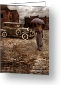 Model A Greeting Cards - Woman with Umbrella by Vintage Car Greeting Card by Jill Battaglia