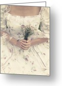Elizabethan Greeting Cards - Woman With Wild Flowers Greeting Card by Joana Kruse