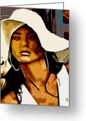 Portraits Greeting Cards - Womans Essence 30 Greeting Card by Byron Fli Walker