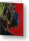 Head-shot Greeting Cards - Womans Essence  Greeting Card by Byron Fli Walker