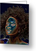 Head-shot Greeting Cards - Womans Essence III  Greeting Card by Byron Fli Walker