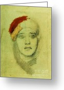 Head Piece Greeting Cards - Womans Head Greeting Card by Pg Reproductions