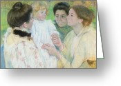 Cassatt Greeting Cards - Women Admiring a Child Greeting Card by Mary Stevenson Cassatt
