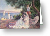Pointillist Painting Greeting Cards - Women Bathing Greeting Card by Maximilien Luce