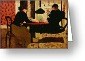Secretive Greeting Cards - Women by Lamplight Greeting Card by vVuillard