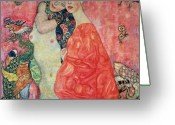 Intimacy Greeting Cards - Women Friends Greeting Card by Gustav Klimt