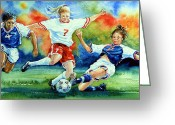 Football Prints Greeting Cards - Women Greeting Card by Hanne Lore Koehler